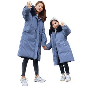 【亲子装,单件价】儿童羽绒服女童中长款 韩版中大童加厚白鸭绒亲子外套