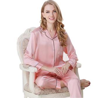 真丝睡衣女春夏季桑蚕丝两件套家居服长袖丝绸女套装 T8002