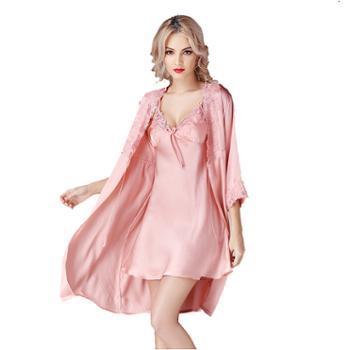 真丝睡裙两件套 睡袍浴袍桑蚕丝睡衣S841
