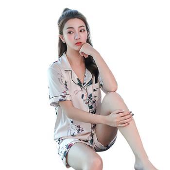 【多色选】女睡衣冰丝短袖短裤丝绸薄款长袖长裤家居服