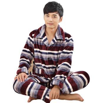 冬天睡衣珊瑚绒加厚加绒男士长袖保暖开衫家居服