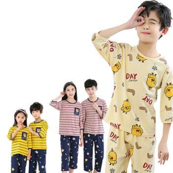儿童七分袖睡衣套装纯棉空调服短袖小中大童家居服内衣