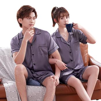 夏天情侣睡衣短袖短裤睡衣男女家居服套装