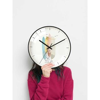 一面墙现代北欧墙上钟表时钟挂钟客厅家用12寸