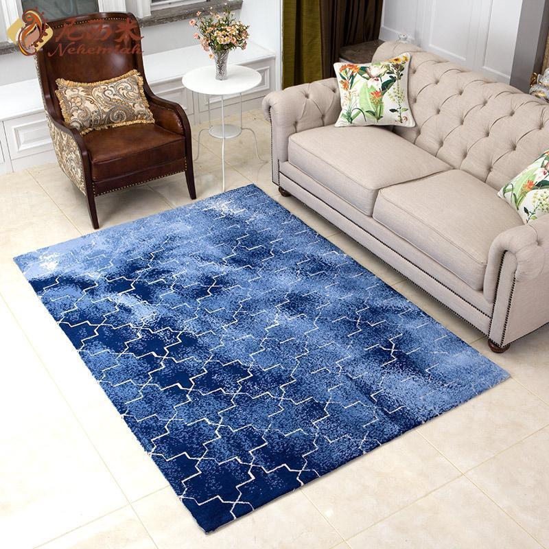 尼西米 简约美式地毯 北欧风格地毯 满铺客厅地毯 几何图案茶几垫1.