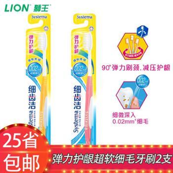 LION/狮王 细齿洁弹力护龈牙刷2支家庭装CX