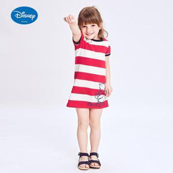 迪士尼女童夏装长款T恤2017中大童条纹短袖童装儿童新款纯棉上衣