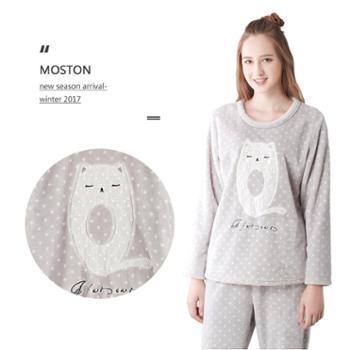 珊瑚绒睡衣女秋冬季长袖韩版可爱法兰绒可外穿家居服套装
