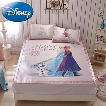 Disney/迪士尼空调凉席三件套1.2m1.5m1.8米可折叠床儿童冰丝凉席(爱莎与安娜)