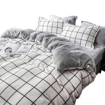 安娜贝妮梦冬季珊瑚绒四件套双面床上用品