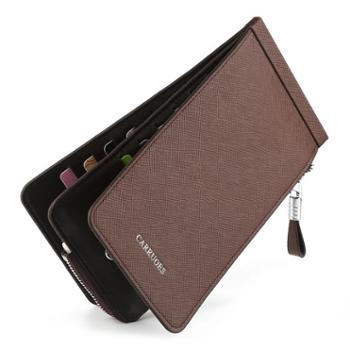CARRUOES箱包皮具超薄男士卡包多卡位卡片包简约长款信用卡夹卡套拉链多功能名片包
