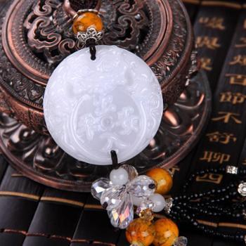 白玉色琉璃车载饰品平安符貔貅水晶挂饰