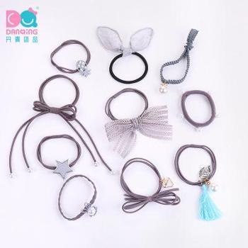 10件套韩版蝴蝶结头绳星形发圈扎头发橡皮筋发绳女系发饰套装