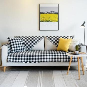 新品北欧ins经典黑白格子纯棉沙发垫防滑四季通用沙发套罩全盖