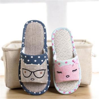 卡通猫咪可爱亚麻拖鞋家居月子鞋室内情侣拖鞋夏季