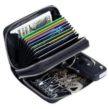 新款多功能钥匙包卡包拉链女真皮rfiid保护卡套男士多卡位防扫描