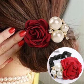 韩版时尚发饰大珍珠玫瑰花朵发圈山茶花发绳头饰镶钻皮筋(3个装)备注颜色