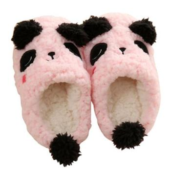 冬季可爱卡通熊猫儿童棉拖鞋防滑软底男女宝宝拖鞋