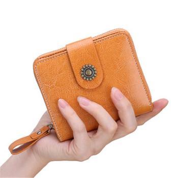 短款真皮欧美风卡包一体包大容量多卡位