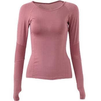 秋冬瑜伽服健身服运动T恤女跑步长袖紧身速干健身瑜伽上衣