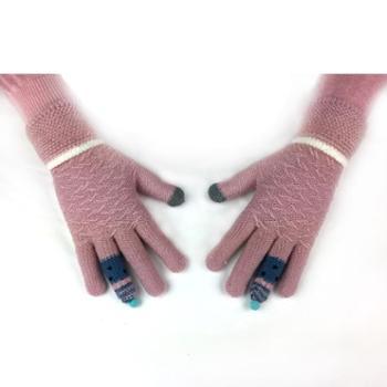 毛线触屏手套女可爱冬季保暖加厚针织女士手套冬季保暖骑车