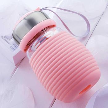 创意玻璃杯学生便携水杯韩国可爱企鹅韩版清新随手茶杯女超萌杯子400ml