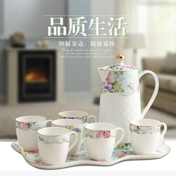 陶瓷杯具欧式客厅水杯套装冷水壶水具 耐热家用茶具杯子结婚送礼
