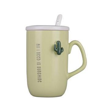 韩版潮流可爱陶瓷杯子带盖勺马克杯咖啡牛奶杯情侣水杯创意女学生浅绿仙人掌