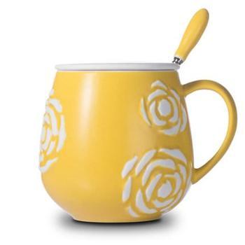 韩版潮流可爱陶瓷杯子带盖勺马克杯咖啡牛奶杯情侣水杯创意女学生黄色浮雕花瓣
