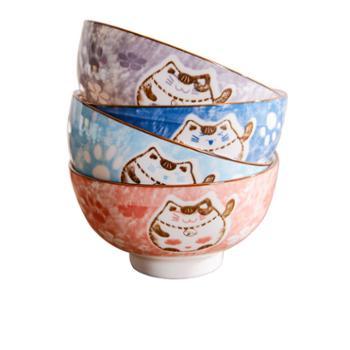 雅诚德 家用陶瓷餐具组合套装吃饭卡通招财猫碗盘碟子