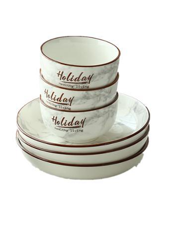 日式釉下彩家用餐具套装陶瓷碗骨瓷吃米饭碗盘碟菜碗汤碗