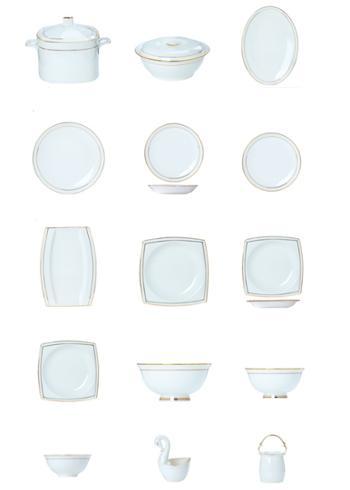 碗碟套装家用简约欧式黄金边陶瓷碗盘骨瓷餐具套装瓷器盘子碗组合