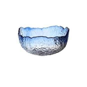 锤目纹北欧风格水果盘客厅家用水晶玻璃沙拉碗水果盆创意现代果篮