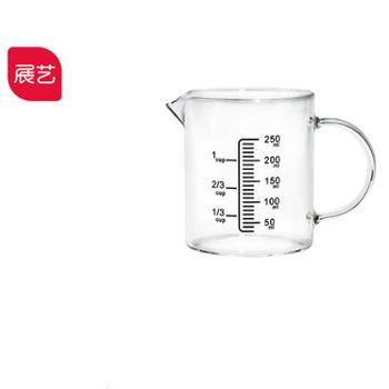 带刻度手柄量杯展艺塑料计量桶烘焙奶茶厨房烘焙月饼工具家用250ML