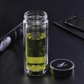 富光双层透明带盖玻璃杯男女士过滤茶杯大容量水杯