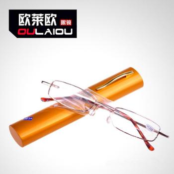 oulaiou/欧莱欧老花镜时尚框架镜笔筒金属老花眼镜树脂BT01