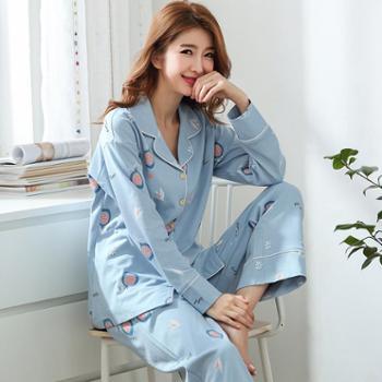 春季纯棉女士长袖睡衣开衫全棉韩版加大码可外穿加厚家居服套装