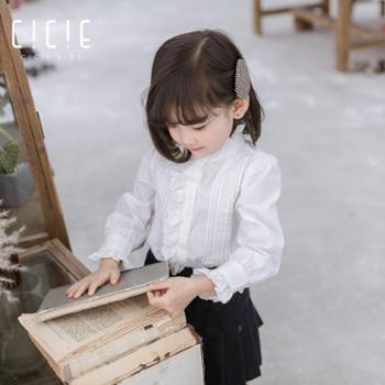 2019春季新款儿童装全棉衬衫女童长袖衬衣儿童娃娃打底衫