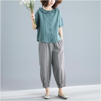 韩版大码女装休闲气质通勤两件套上衣加裤子套装
