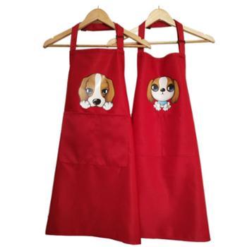 时尚围裙 男女成人挂脖家居时尚围裙 小狗图案 家庭日用