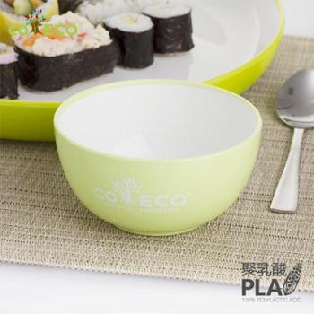 COECO 2件装 儿童环保小碗玉米宝宝饭碗 双色加厚绿色安全 可微波加热