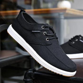 夏季透气帆布鞋工作鞋子男韩版潮流板鞋老北京布鞋男士低帮休闲鞋