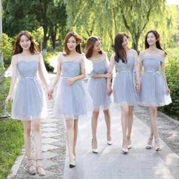 伴娘服短款女新款韩版姐妹团灰色毕业聚会活动小礼服显瘦裙夏