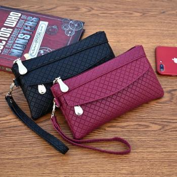新款女钱包韩版百搭手拿包潮爆简约手机包气质格纹零钱包小包
