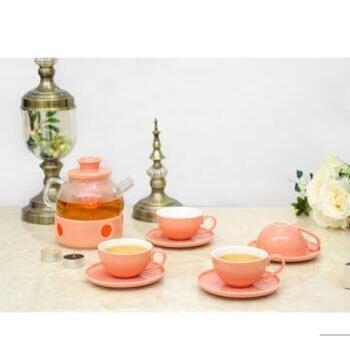 【CODA】 蔻达欧式镂空花茶壶套装 橙色D1027
