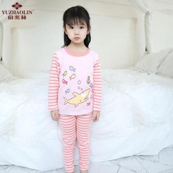 俞兆林 男童女童加绒保暖内衣套装 冬季童装中小童加厚内衣套装
