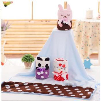创意拼接萌兔车载空调毯 80*100cm卡通动漫午睡小卷毯童毯