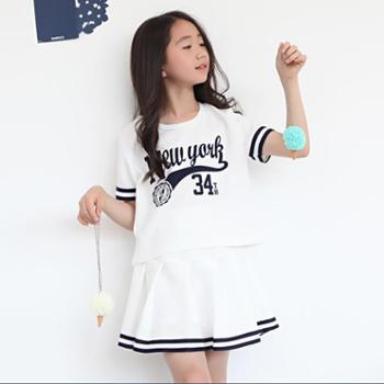 抱抱我女童短袖套装纯棉两件套中大童韩版学院风