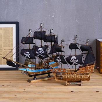 地中海风格家居装饰黑帆海盗船模型木质手工艺儿童房摆件一帆风顺