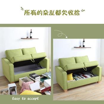 布艺沙发小户型两人双人简易沙发卧室迷你经济型储物沙发
